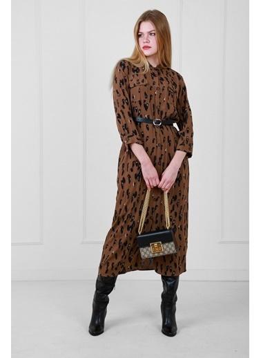 JEANNE D'ARC Desenli Kumaş Önden Düğmeli Safari Elbise Kahve
